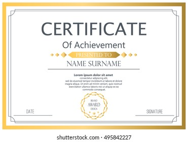 Vector certificate template vector award graduation stock vector vector certificate template vector award graduation certificate achievement success template border business paper coupon flashek Choice Image