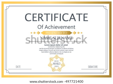 Vector certificate template vector award graduation stock vector vector certificate template vector award graduation certificate achievement success template border business paper coupon friedricerecipe Gallery