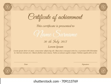 Vector certificate template in brown colors with wave frame