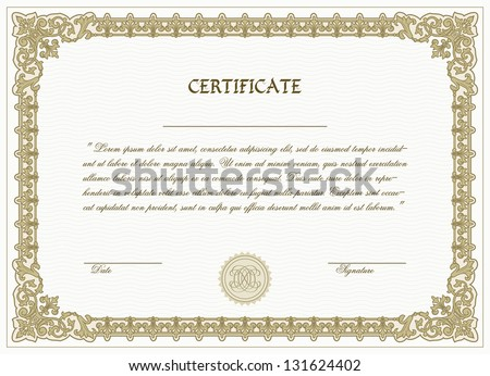 Vector Certificate Template Detailed Border Stock Vector Royalty