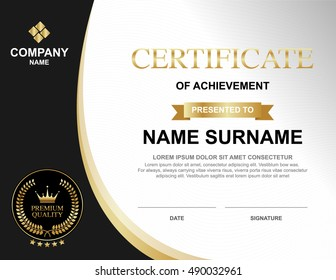 Vector certificate template with Luxury gold and black, Qualification certificate blank template with elegant