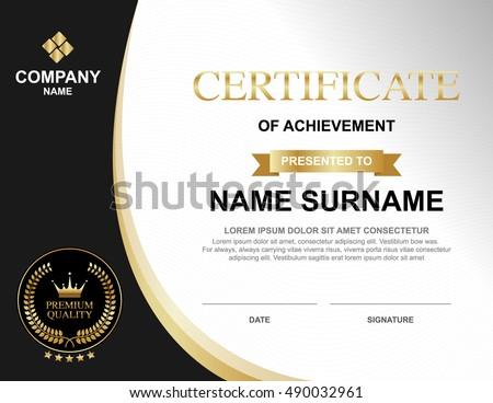 Vector Certificate Template Luxury Gold Black Stock Vector Royalty