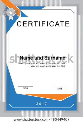 Vector Certificate Template Vertical Blank Stock Vector Royalty