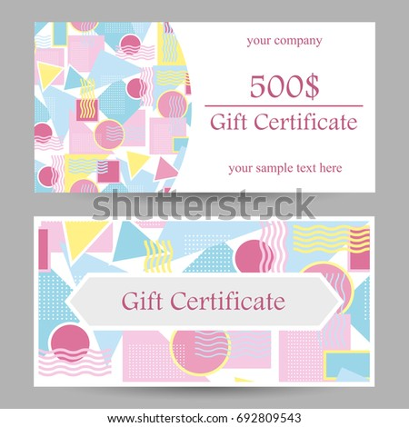 Vector Certificate Templates Bright Modern Geometric Stock Vector