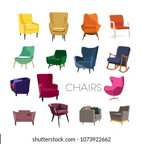 vector chair collection illustration.  furniture element set. modern contemporary home house decor.