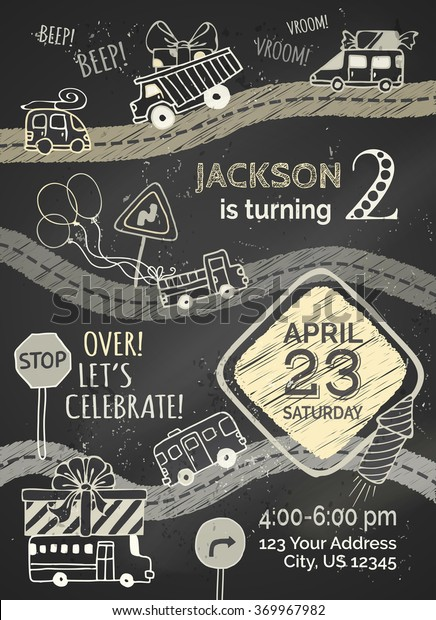Vector Chalk Birthday Invitation Template On Stock Royalty