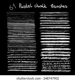 Vector chalk brushes or lines. Pastel chalk hand drawn brushes. Easy changeable colors.
