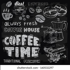 vector chalk coffee on chalkboard background