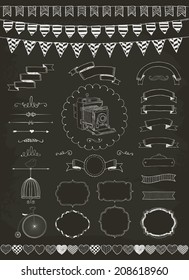 Vector Chalk Drawing Banners, Ribbons, Frames. Set of Graphic Design Elements.