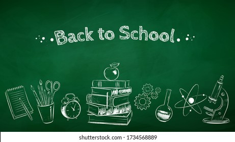 Vector chalk drawn back to school illustration on green chalkboard background.