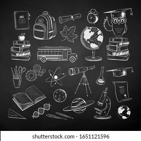 Vector chalk drawn set of science and school illustrations isolated on black chalkboard background.