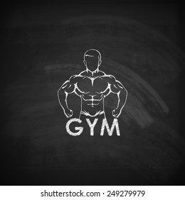 Vector chalk  illustration of muscled man body silhouette on the blackboard texture. fitness or bodybuilding gym logo concept