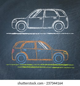 Vector chalk sketches of car on blackboard