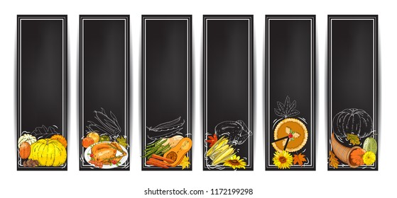 Vector chalk Thanksgiving banners set with turkey, pumpkin pie, cornucopia, colorful pumpkins, other vegetables, fruits, berries, White outline and leaves. Harvest autumn symbols on black
