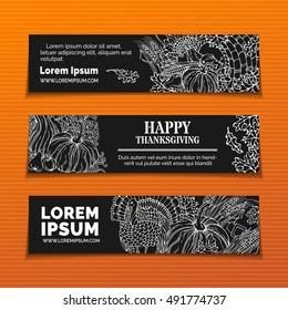 Vector chalk Thanksgiving horizontal banners set. Pumpkin, turkey, horn of plenty, pilgrim's hat, wheat, corn, sunflower, grape, apple, leaves. White linear harvest autumn symbols on black background.