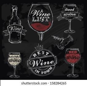 vector chalk wine set on chalkboard background
