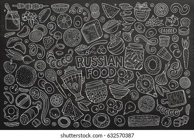 Vector chalkboard hand drawn doodle cartoon set of Russian food theme items, objects and symbols