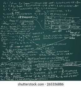 Vector chalkboard with handwritten draft  calculations