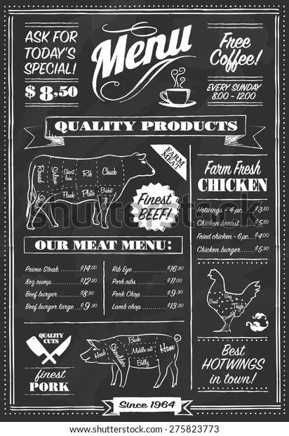 Vector Chalkboard restaurant menu