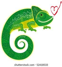 Vector chameleon with heart.