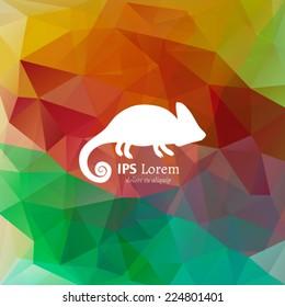 Vector chameleon logotype on multicolor polygonal background. White animal silhouette on rainbow backdrop. Lizard logo design template.