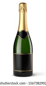 Vector champagne bottle on white background
