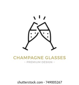 Vector champagne glasses icon. Celebration, holidays, toast concepts. Two champagne flutes. Premium quality graphic design. Outline symbol, sign, simple thin line icon for websites, web design, etc.