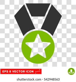 Vector Champion Medal EPS vector icon. Illustration style is flat iconic bicolor eco green and gray symbol on a transparent background.
