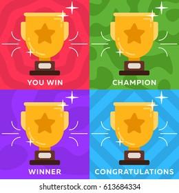 Vector champion Trophy Cup. Winner flat icon illustration. Symbol of success, winning, championship.