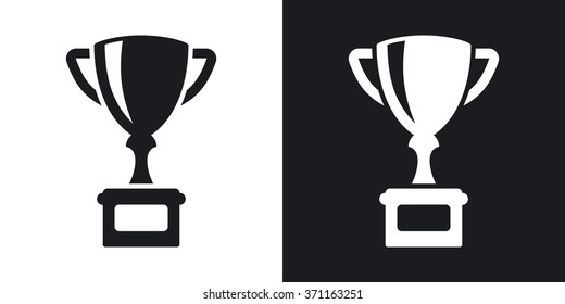 Vector champion's cup icon. Two-tone version on black and white background