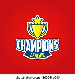 Vector champions and football emblem. sports logo collection illustration. Champion sports league logo emblem badge graphic with trophy