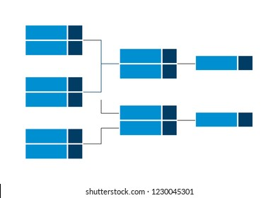 Vector championship single elimination tournament bracket or tree diagram in blue color isolated on a white background. Fields for 6 players or teams. It is suitable for all kinds of sports.