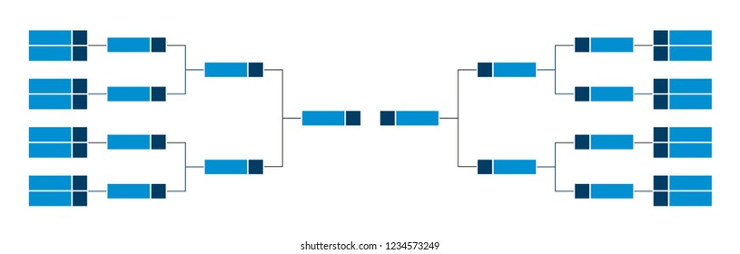 Vector championship single elimination tournament bracket or tree diagram in blue color isolated on a white background. Fields for 16 or sixteen players or teams. It is suitable for all kinds of sport