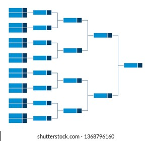 Vector championship single elimination tournament bracket with fields for sixteen 16 players or teams. Tree diagram in blue color isolated on a white background. It's suitable for all kinds of sports.