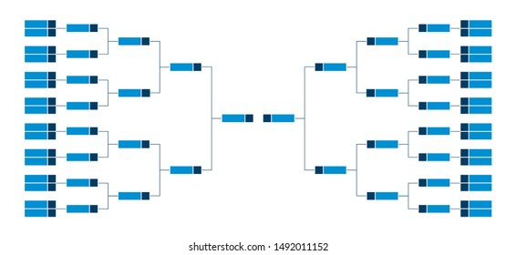 Vector championship single elimination tournament bracket or tree diagram in blue color isolated on white. Fields for 32 players or teams, 16 from each side. It is suitable for all kinds of sports.