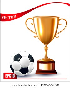 Vector championship winner trophy. Gold cup. Isolated on a white background. Vector soccer ball.