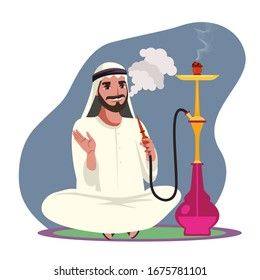 Vector character arab man smoke hookah pipe, exhale thick white smoke and sitting on floor. Guy relax and spend time in hookah bar. Concept of lounge club and traditional oriental leisure