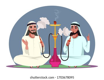 Vector character arab men smoke hookah pipe, exhale thick white smoke and sitting on floor. Friends relax and spend time together in hookah bar. Concept of lounge club and traditional oriental leisure