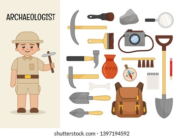 Vector character archaeologist. Illustrations of archaeologist equipment. Set of cartoon professions.