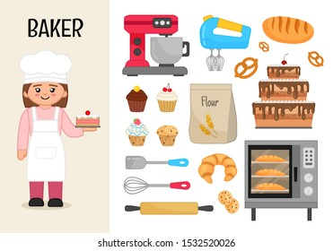 Vector character baker. Illustrations of baker equipment. Set of cartoon professions.