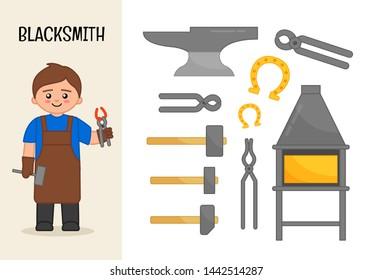 Vector character blacksmith. Illustrations of blacksmith equipment. Set of cartoon professions.