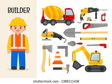 Vector character builder. Illustrations of construction equipment. Set of cartoon professions.