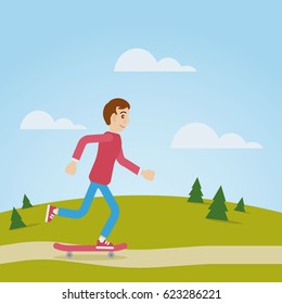Vector character cartoon boy running on skateboard