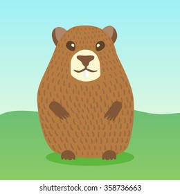 Vector character cartoon ground hog day crd template