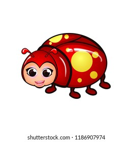 vector character cartoon illustration lady bugs with smile