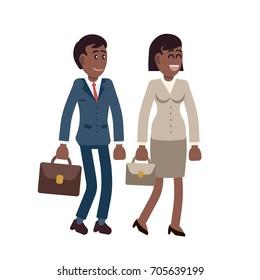 Vector character cartoon walking african american people man woman talk meeting smile