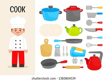 Vector character cook. Illustrations of objects for the cooking. Set of cartoon professions.
