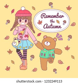 vector character cute girl walkin with bear autumn background