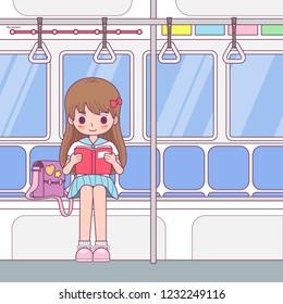 vector character cute girl walkin with bear
