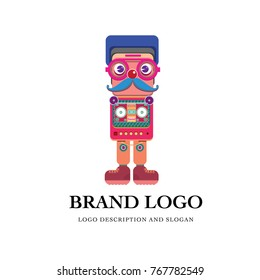 Vector character design and brand logo of robot toys